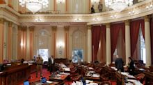 Protester tosses feminine hygiene device with red liquid on California lawmakers, forcing evacuation of Senate floor