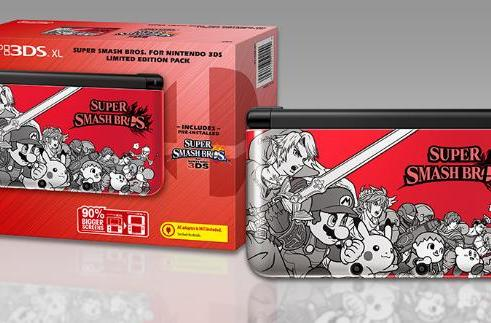Super Smash Bros. 3DS XL pack is black, white and red all over