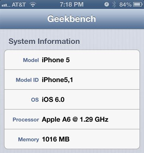 Apple's A6 CPU actually clocked at around 1.3GHz, per new Geekbench report