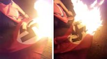 Canadian man removes Nazi flag flying above local home and burns it: 'It has to end now'