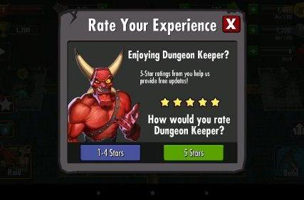 Dungeon Keeper Android makes it difficult to rate app less than 5 stars