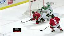 Shaw scores from one knee on his backhand