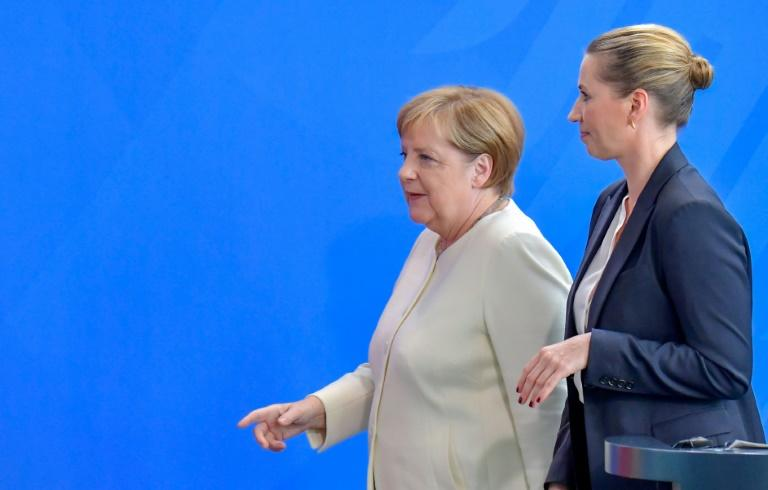 German Chancellor Angela Merkel and Denmark's Prime Minister Mette Frederiksen gave a joint news conference