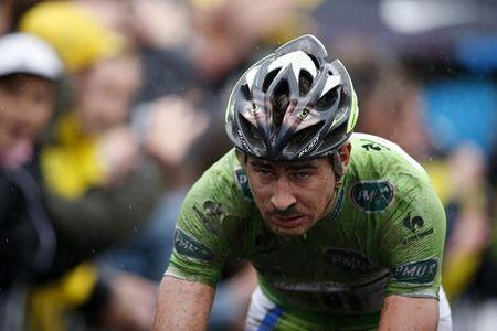 Cannondale team rider Peter Sagan of Slovakia crosses the finish line of the 155.5 km fifth stage of the Tour de France cycling race