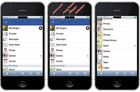 Screenshots of Facebook's Project Spartan on iPhone