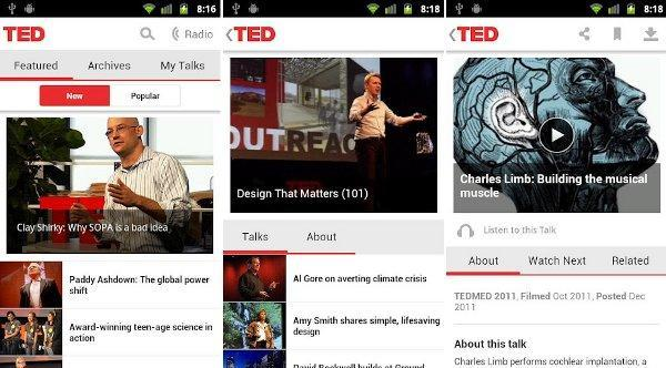 Android finally gets an official TED app