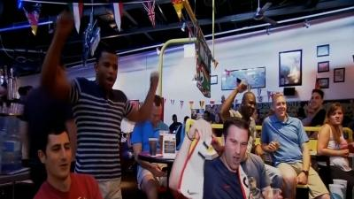 Raw: US Troops in Germany Cheer World Cup Team