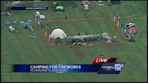 Campers stake out positions for July 3 fireworks