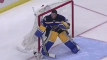 Jake Allen makes save without mask thanks to 'weird rule' (Video)