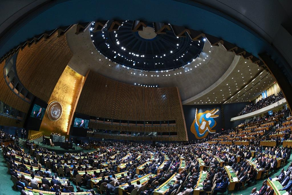 The packed UN General Assembly hall greeted President Donald Trump's tough rhetoric and calls for individual nation states to form the basis of the global order with periods of silence punctuated by polite applause (AFP Photo/Jewel SAMAD)