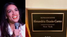 Alexandria Ocasio-Cortez mocked for J.Lo reference in showing new office plaque