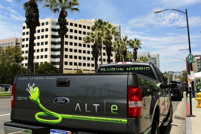 FILE PHOTO: Ford ALTe hybrid electric F-150 pickup truck is shown outside Electric Power Research Institute's Plug-In 2014 conference in San Jose
