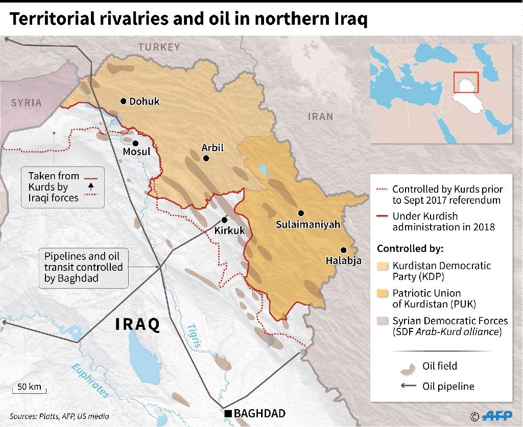 Changing Kurdish territorial control in northern Iraq, plus oil fields and pipelines (AFP Photo/)
