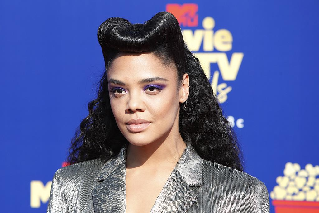 9f0f9b20b9 Tessa Thompson Vamps in 'Ugly Shoes' on MTV Movie & TV Awards 2019 Red  Carpet