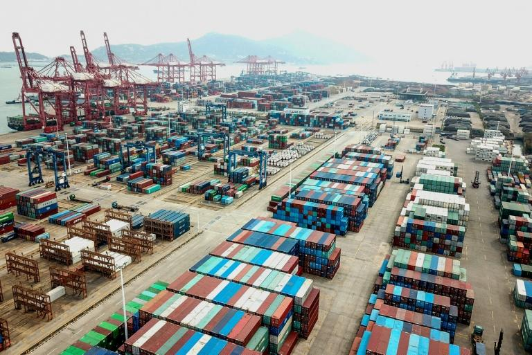 The United States currently runs a trade deficit with China, whose port at Lianyungang in the eastern Jiangsu province is pictured