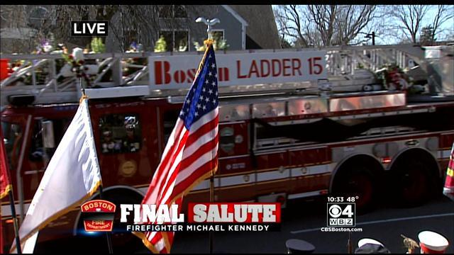 Bagpipers Lead Michael Kennedy's Funeral Procession To Church