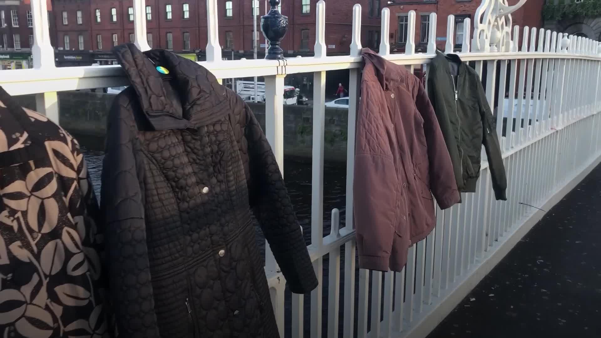 Warm for Winter charity hangs coats on Ha'penny Bridge Video