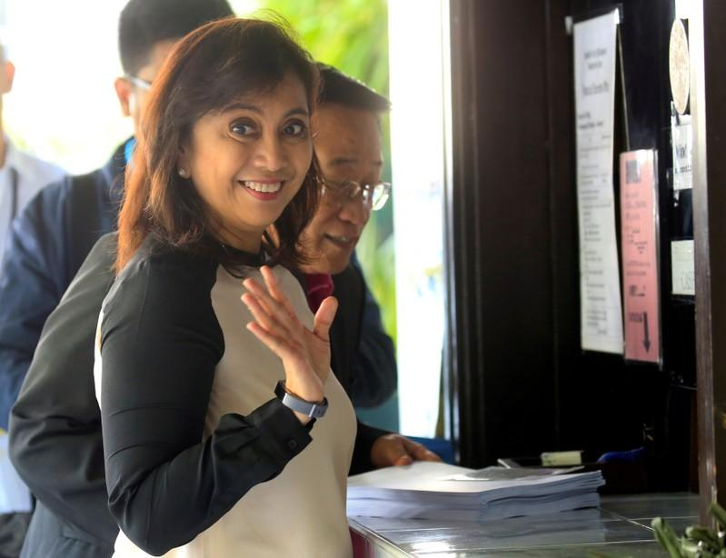 FILE PHOTO - Philippine Vice-President Leni Robredo gestures while filing a motion for reconsideration at the Supreme Court in Padre Faura, metro Manila
