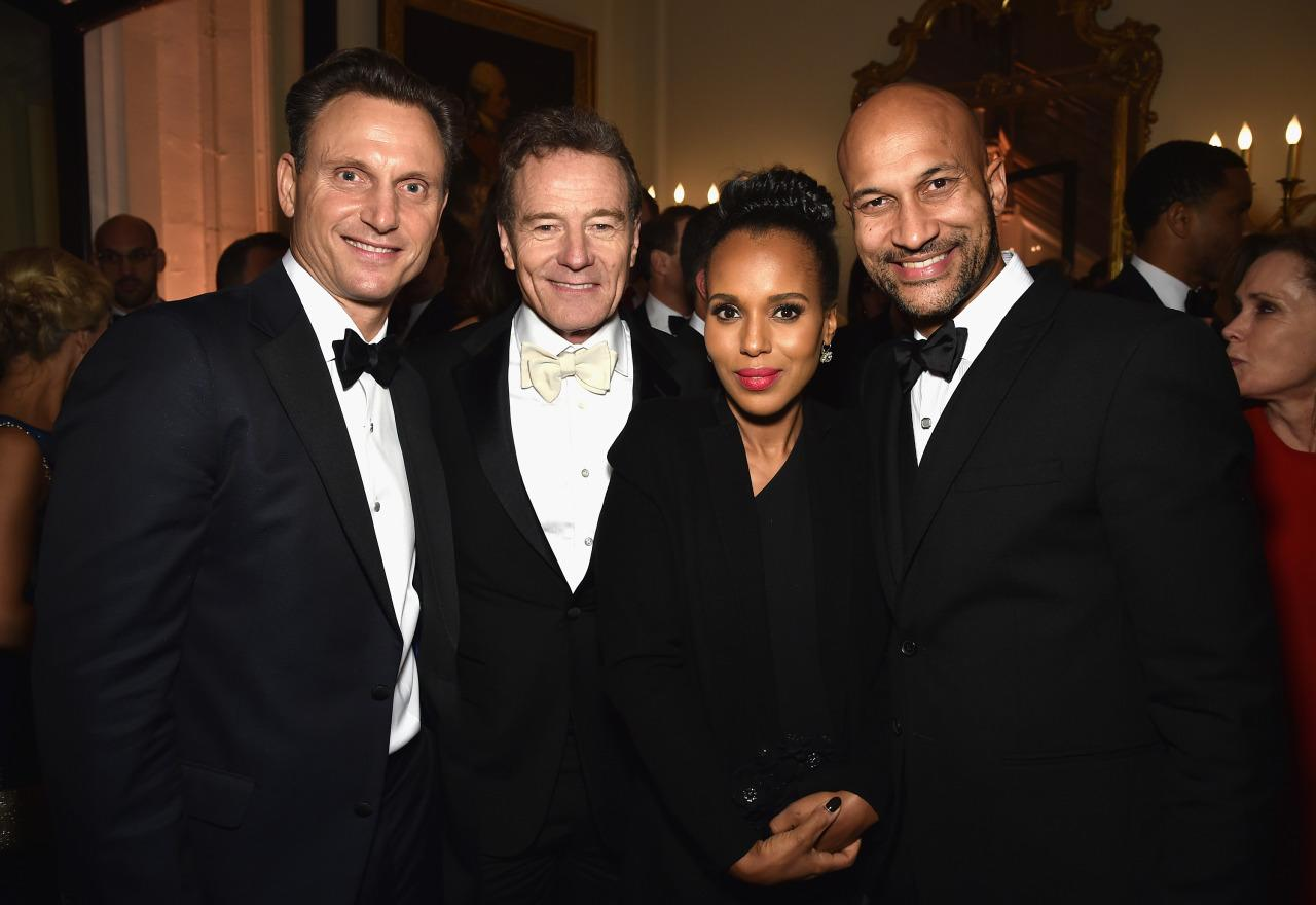 <p>Tony Goldwyn, Bryan Cranston, Kerry Washington and Keegan-Michael Key attend the Bloomberg & Vanity Fair cocktail reception following the White House Correspondents' Dinner, April 30. <i>(Photo: Dimitrios Kambouris/VF16/WireImage)</i></p>