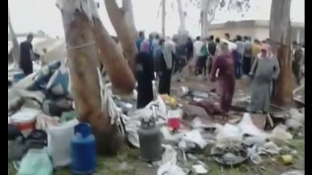 Video footage 'shows aftermath' of Syria refugee camp bombs