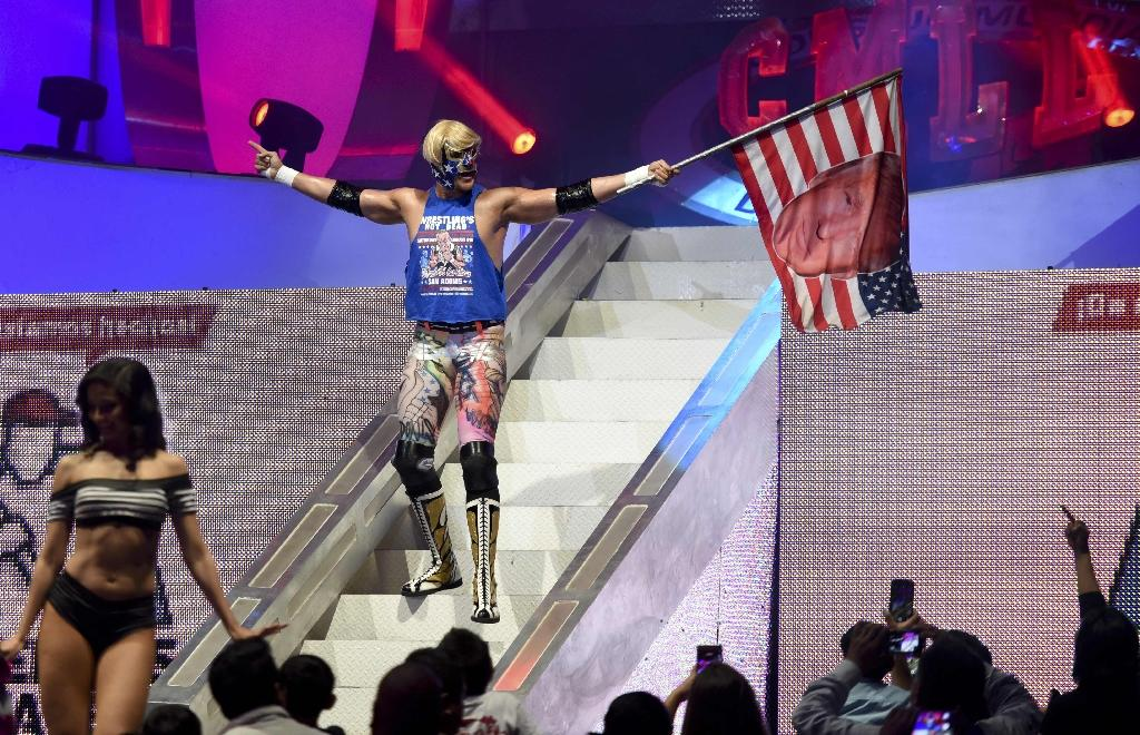 US wrestler Sam Adonis goads the Mexican crowd in his role as a Donald Trump rabble-rouser (AFP Photo/YURI CORTEZ)