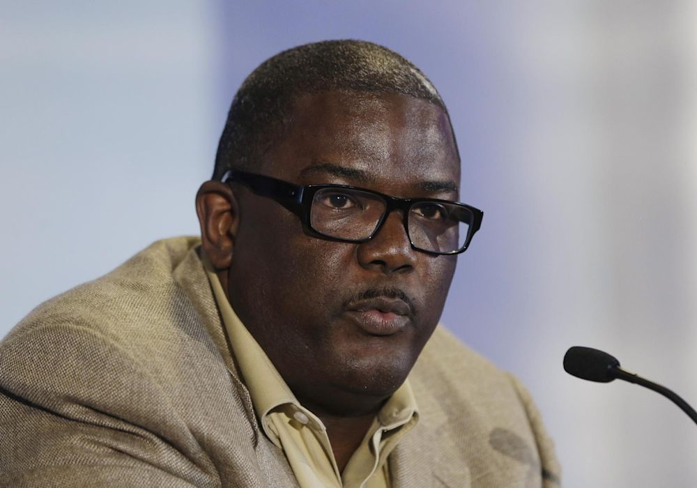 In this July 16, 2013, photo, Detroit Pistons President of Basketball Operations Joe Dumars speaks during a news conference in Auburn Hills, Mich. The Pistons have decided not to renew Dumars' contract as president of basketball operations, a person familiar with the situation said Sunday, April 13, 2014. The person, who spoke on condition of anonymity because the team has not made any announcement on Dumars' future, says Dumars will remain with the Pistons as an adviser