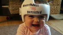 Former NICU baby wears helmet with the most perfect message