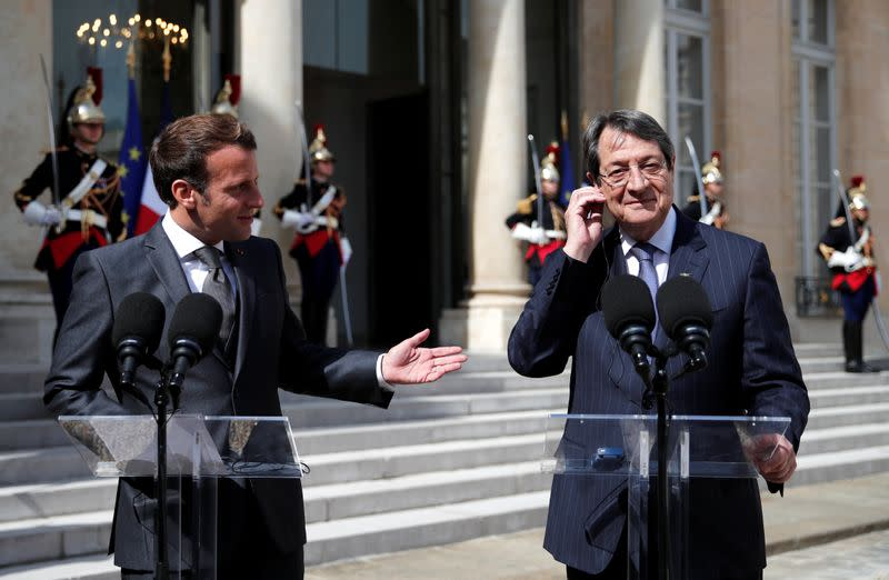 French President Macron meets his counterpart of Cyprus Anastasiades in Paris