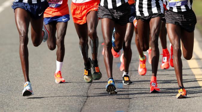 Athletics - London Marathon - London, Britain - April 22, 2018   General view of runners during the men's elite race   REUTERS/Andrew Boyers