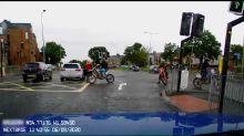 Dashcam Footage Shows Motorbike Crashing Into Car in Durham, England