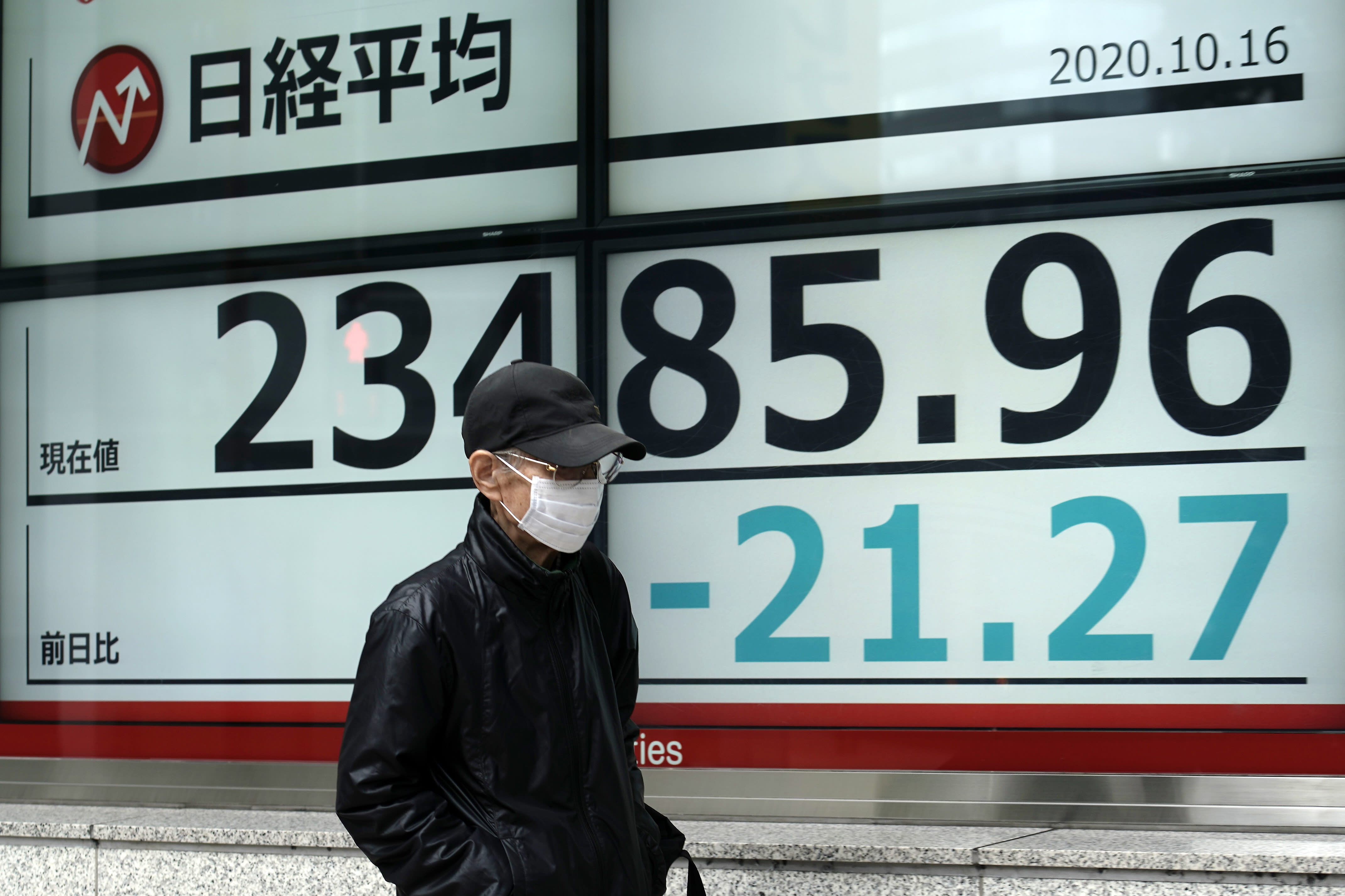 A man walks past an electronic stock board showing Japan's Nikkei 225 index at a securities firm in Tokyo Friday, Oct. 16, 2020. Asian shares were mixed on Friday as investors weighed concerns about the U.S. presidential election and an economic stimulus package, on top of fears of flaring outbreaks of coronavirus. (AP Photo/Eugene Hoshiko)