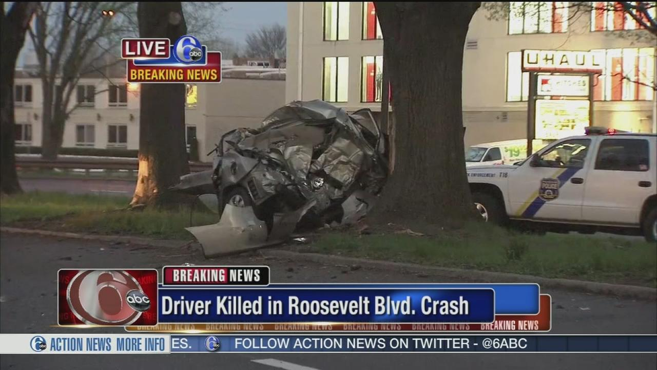 Driver killed after car hits 2 trees on Roosevelt Boulevard