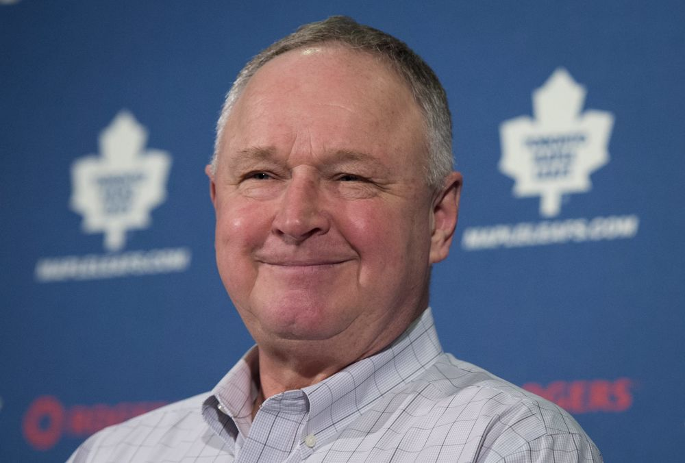 Toronto Maple Leafs NHL hockey team head coach Randy Carlyle speaks to reporters during his year-end address at the Air Canada Centre in Toronto on Tuesday, April 15, 2014