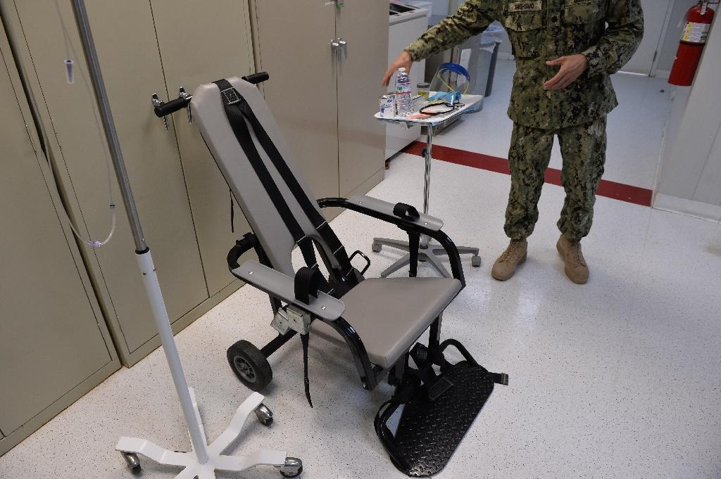"A ""feeding chair"" the US military has used to force feed prisoners at the Guantanamo Bay detention facility"