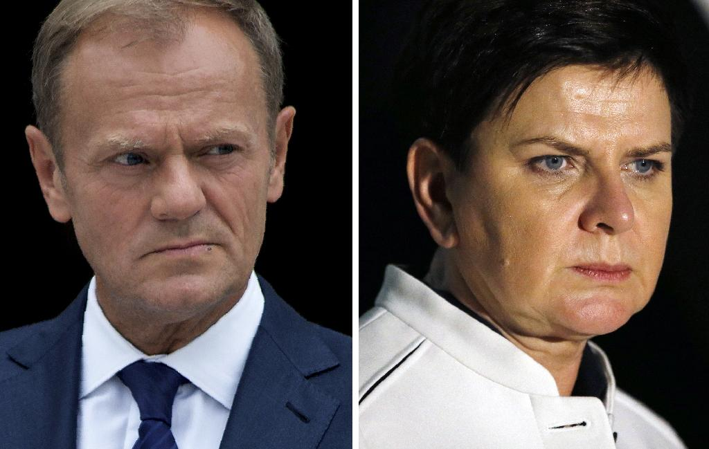 Polish Prime Minister Beata Szydlo is bitterly opposed to the re-appointment of her compatriot Donald Tusk as EU president (AFP Photo/Ahmad GHARABLI, Paulo NUNES DOS SANTOS)