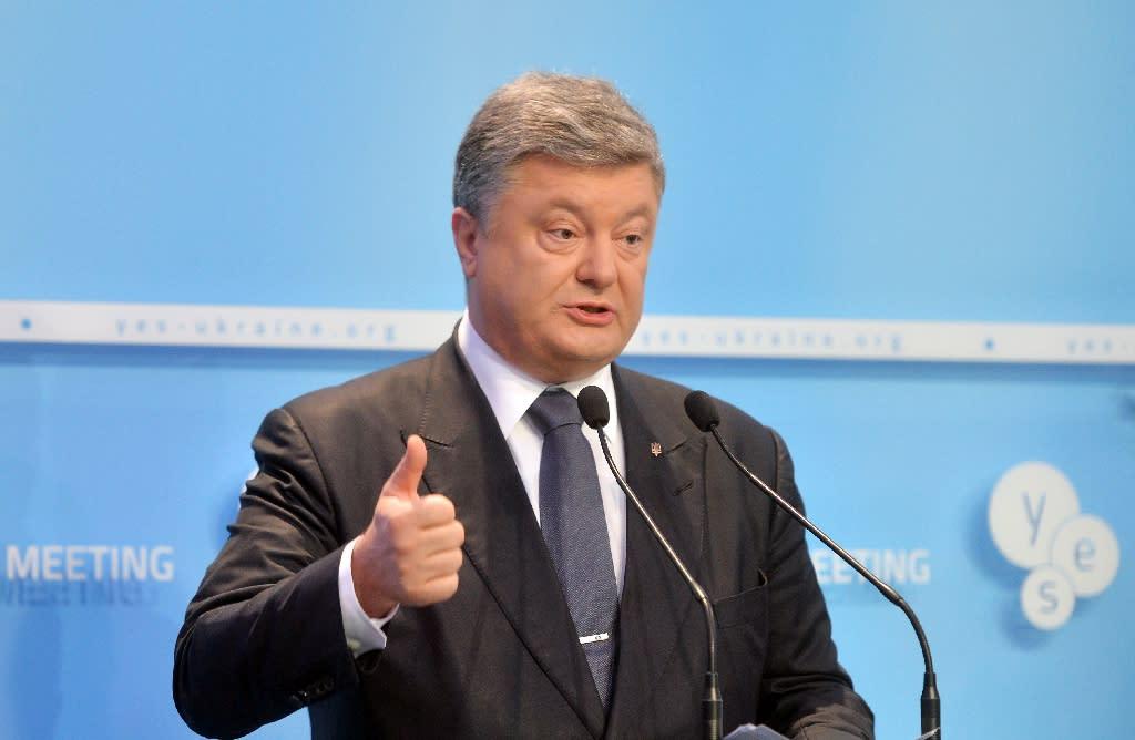 Ukrainian President Petro Poroshenko delivers a speech in Kiev on September 11, 2015