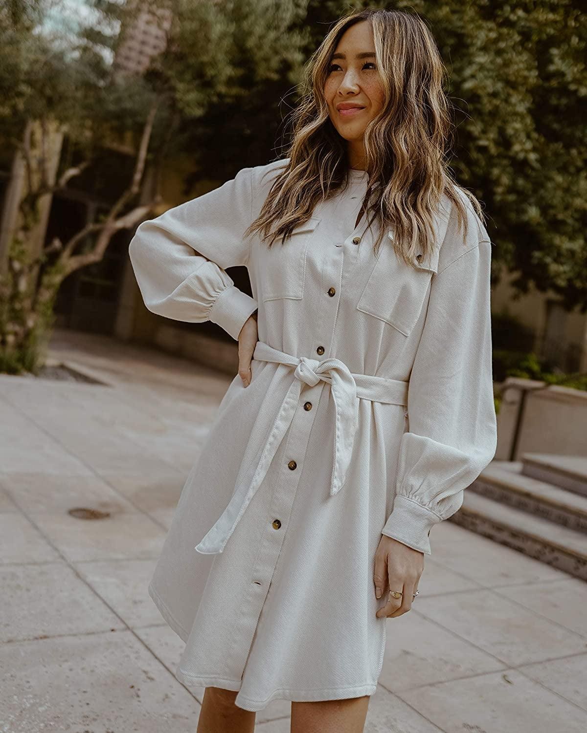<p>This <span>The Drop Ivory Utility Tie-Waist Loose-Fit Shirt Dress by @spreadfashion</span> ($60) is so versatile and on trend.</p>