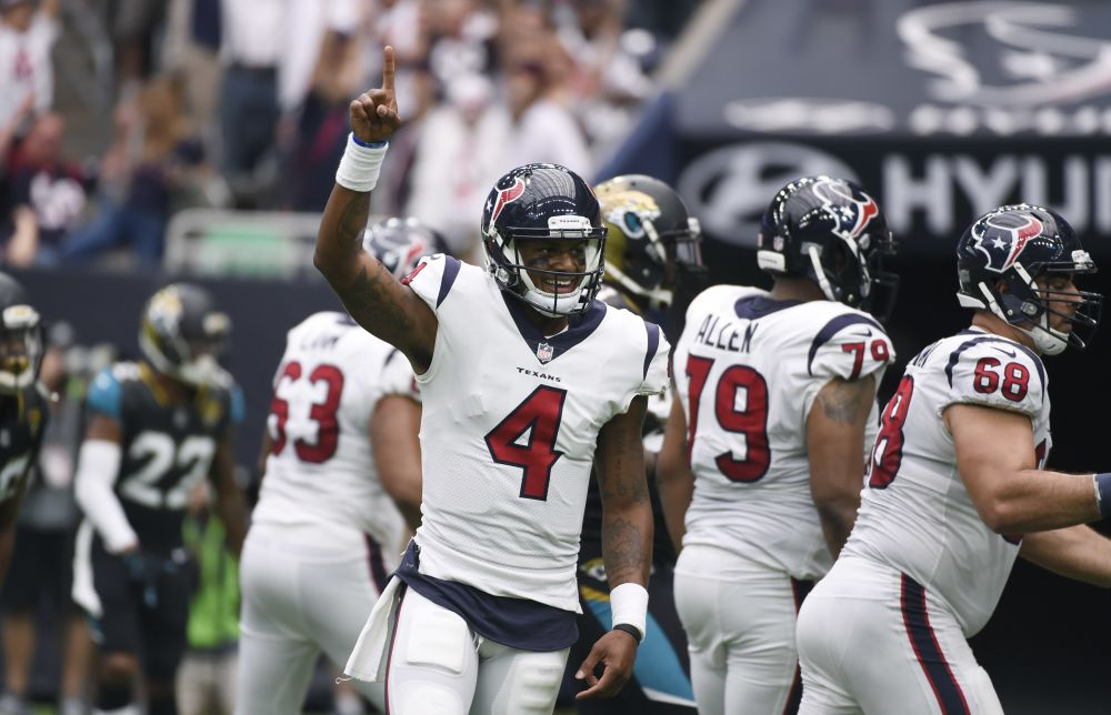 Deshaun Watson provided the Texans a spark in the second half but the Texans were in too big a hole on Sunday against the Jaguars. (AP)