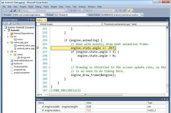 NVIDIA Nsight Tegra 1.1 Visual Studio Edition gives developers a path to Android