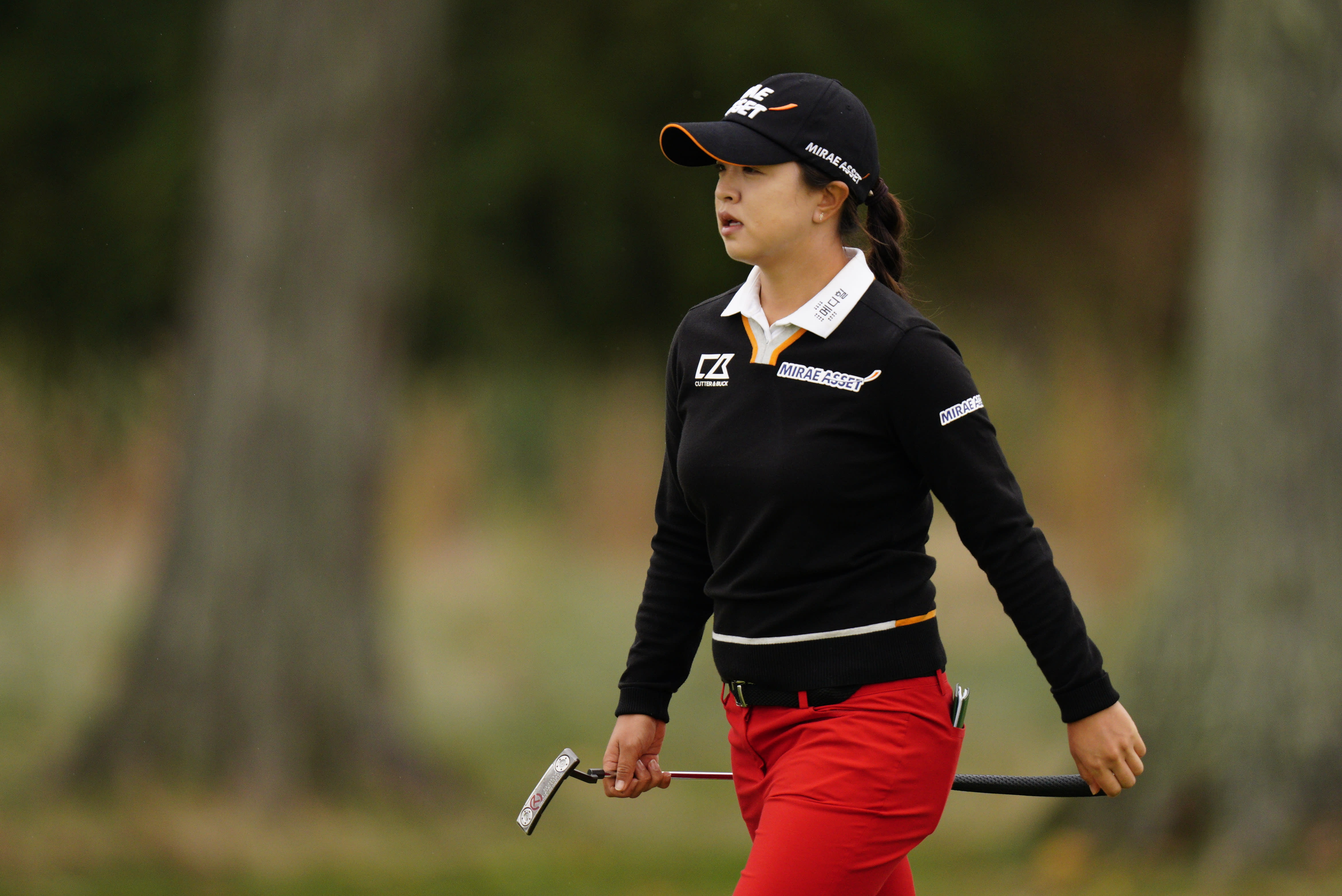 Sei Young Kim, of South Korea, walks to the eighth green during the final round at the KPMG Women's PGA Championship golf tournament at the Aronimink Golf Club, Sunday, Oct. 11, 2020, in Newtown Square, Pa. (AP Photo/Chris Szagola)