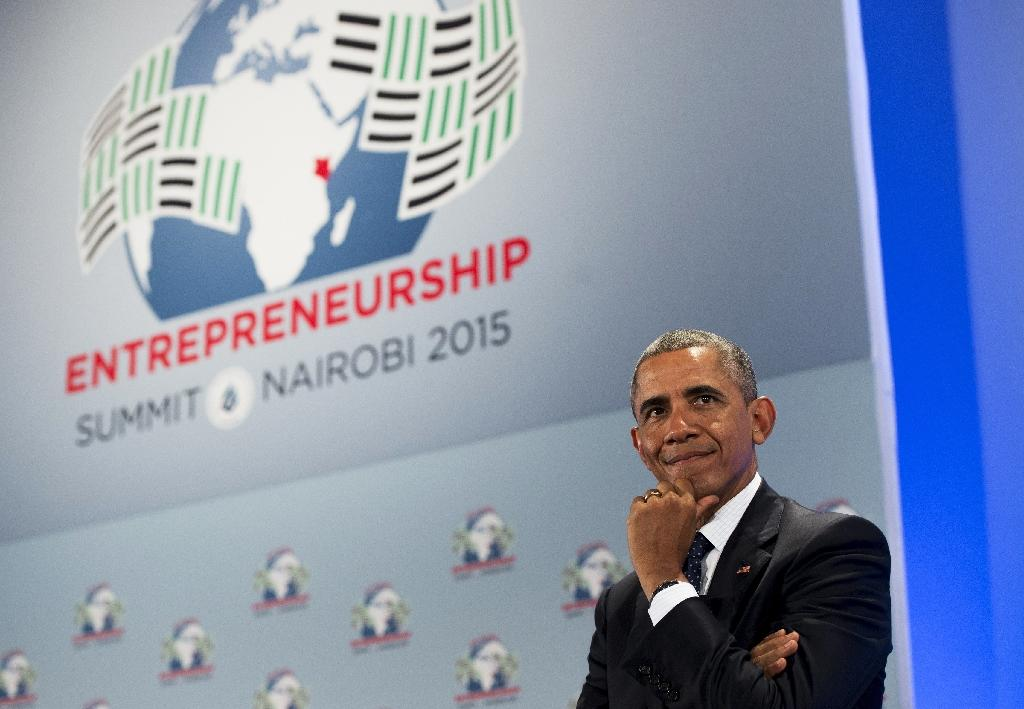 US President Barack Obama looks on during the Global Entrepreneurship Summit at the United Nations Compound in Nairobi on July 25, 2015 (AFP Photo/Saul Loeb)