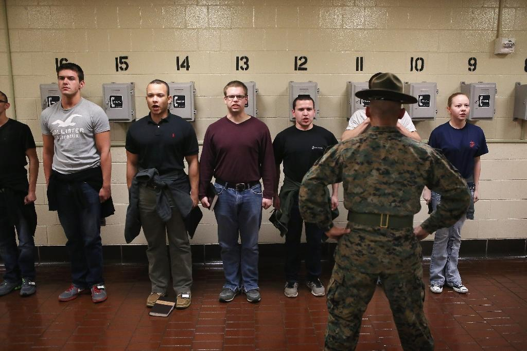 Marine Corps recruits arrive at a boot camp at MCRD Parris Island, South Carolina in 2013 (AFP Photo/SCOTT OLSON)
