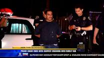 Police chase ends with suspect crashing into family van