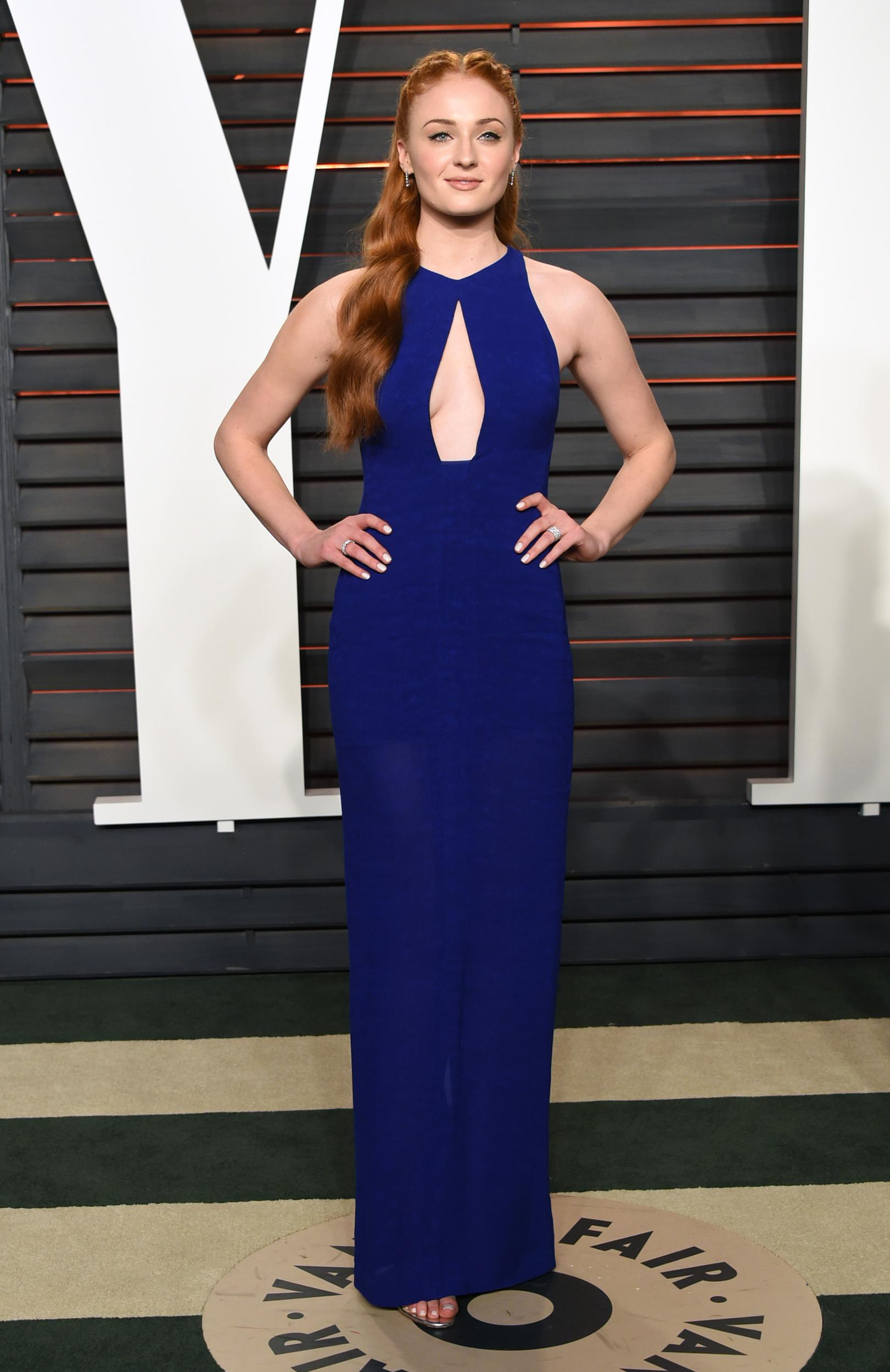 Sophie Turner arrives at the Vanity Fair Oscar Party on Sunday, Feb. 28, 2016, in Beverly Hills, Calif. (Photo by Evan Agostini/Invision/AP)