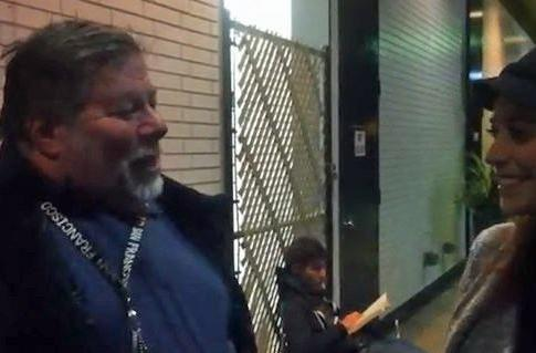 Where's Steve Wozniak? He's doing his regular waiting-in-line thing