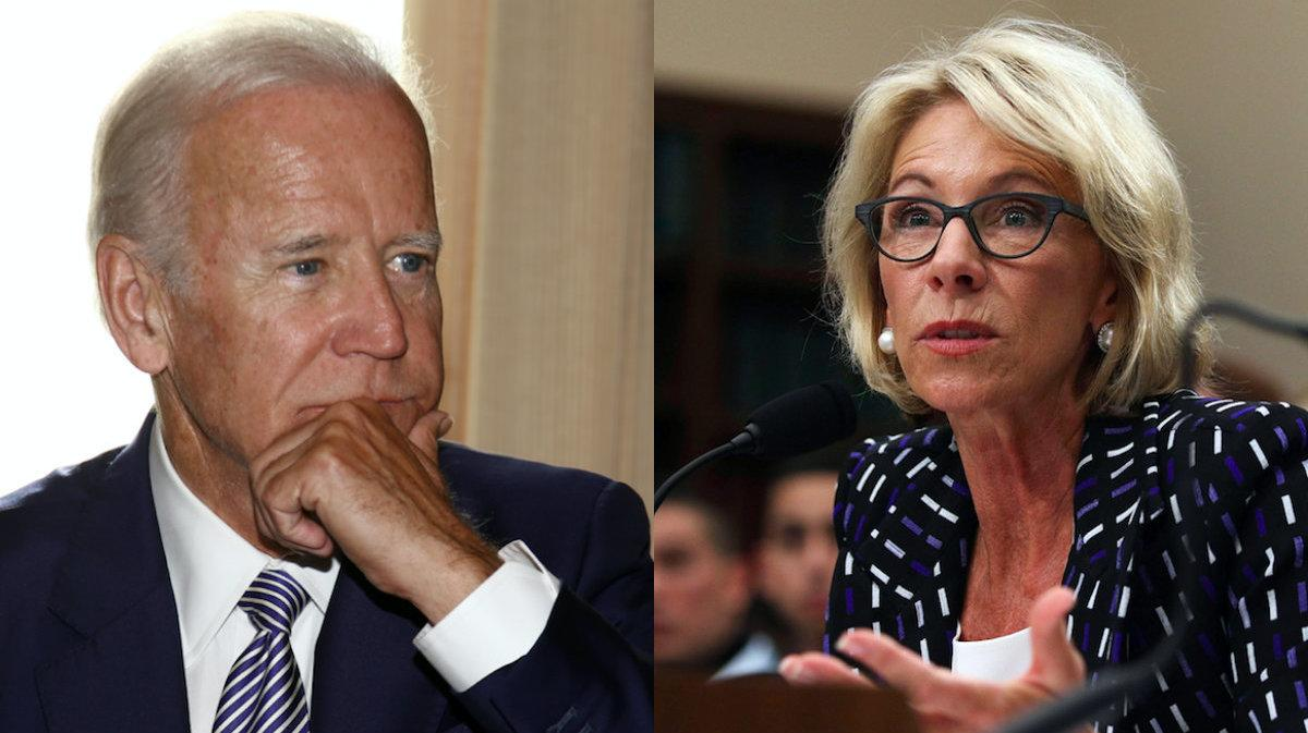 Joe Biden Has Strong Words For Betsy DeVos After Her Title IX Announcement