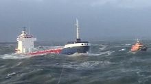 RNLI lifeboats battle 20ft waves to help stricken 4,000 tonne cargo ship during Storm Barbara