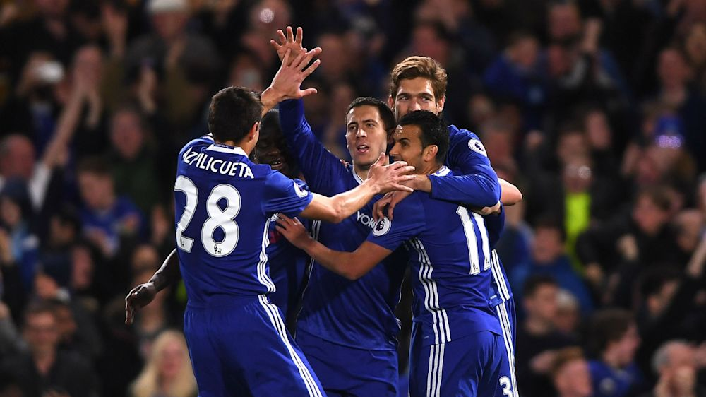 Chelsea 2 Manchester City 1: Hazard at the double as Conte's men close on title