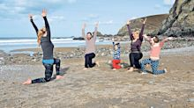 Family yoga on a chilly Cornish beach? Surprisingly, it works