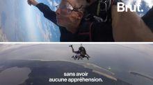 À 82 ans, on n'est pas trop vieille pour un saut en parachute !